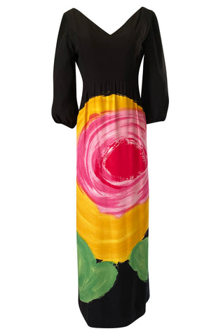 Important 1970s James Galanos Huge Floral Screened Black Silk Dress