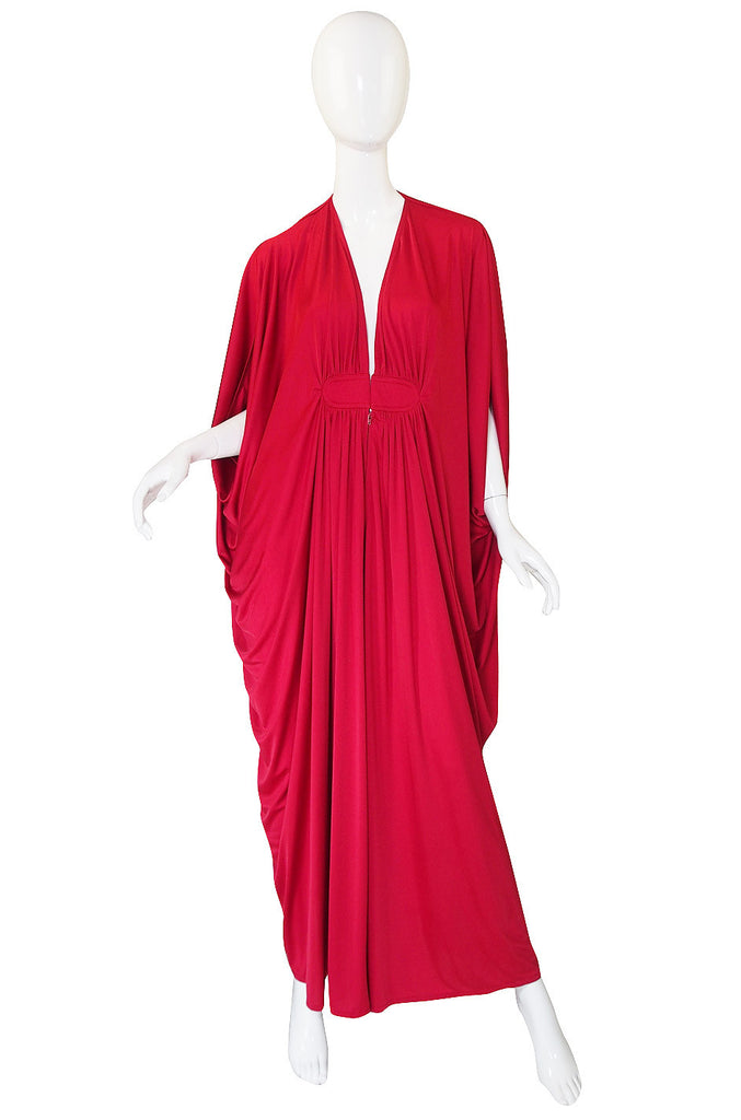 1970s Rare Red Yuki Caftan Gown