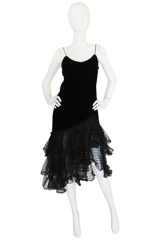 Now On Sale - 1980s Oscar de la Renta Velvet & Dotted Net Dress