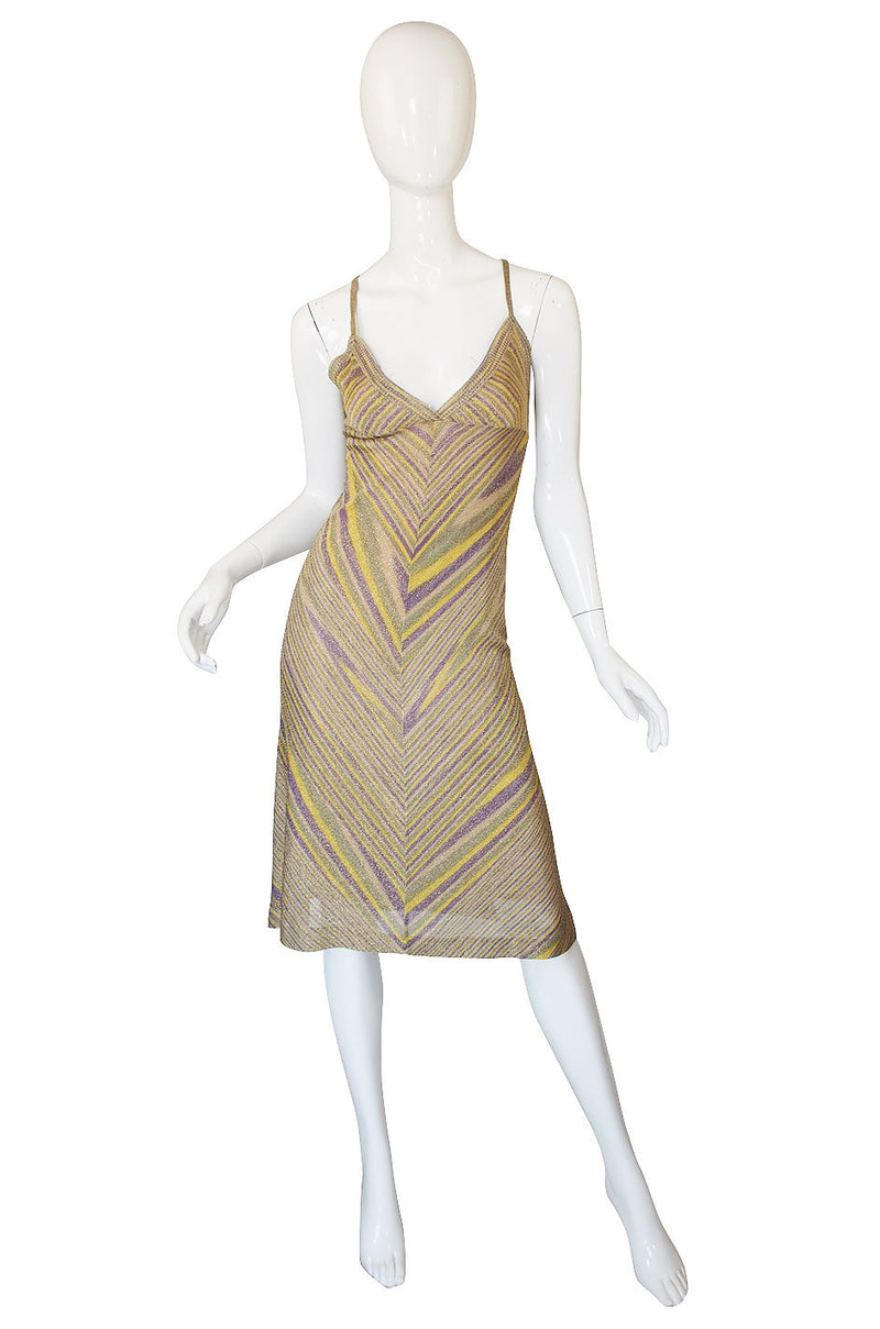Recent Missoni Gold Chevron Pattern Knit Halter Summer Dress