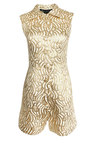 1970s Lanvin Metallic Gold Lame & Ivory One Piece Playsuit Jumpsuit