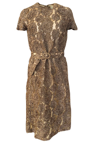 Early 1950s Unlabeled Taupe Ribbon Tape and Net Sheat Dress & Belt