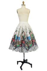 1950s Hand Painted Fishing Village Scene Cotton Skirt