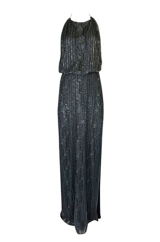 c.1998 Richard Tyler Couture Backless Silver Beaded Dress