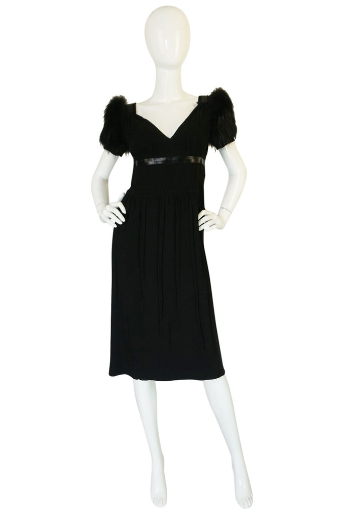 2007 Prada Fur Trimmed Shoulder Dress