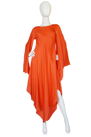 Treasure Item - 1970s Oscar de la Renta Silk Chiffon Coral Caftan Dress