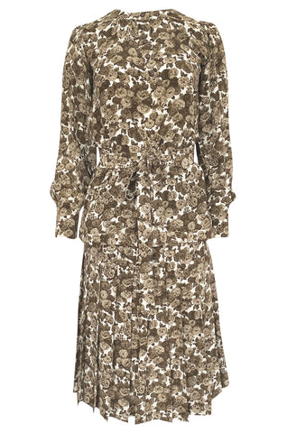 1970s Yves Saint Laurent Soft Brown Floral Print Silk Dress Top & Skirt Set