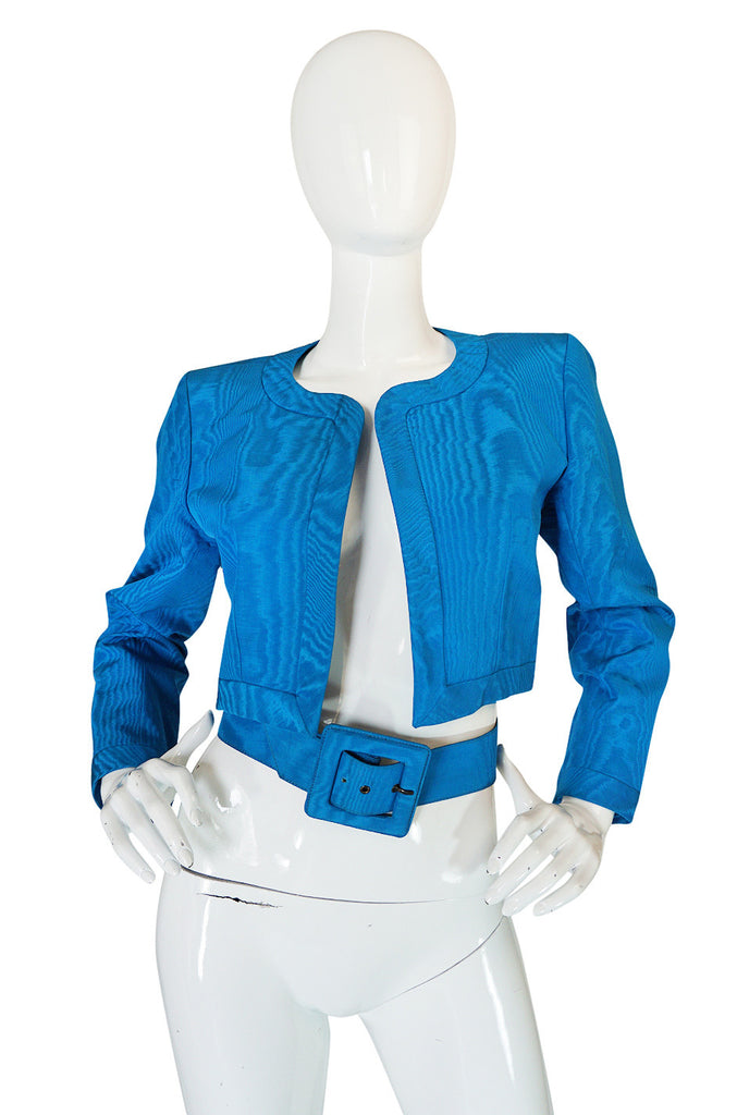 1980s Yves Saint Laurent Blue Moire Silk Jacket w Belt