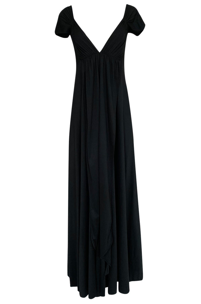 c.1971 John Kloss Deep Front Plunge Black Jersey Lingerie Dress