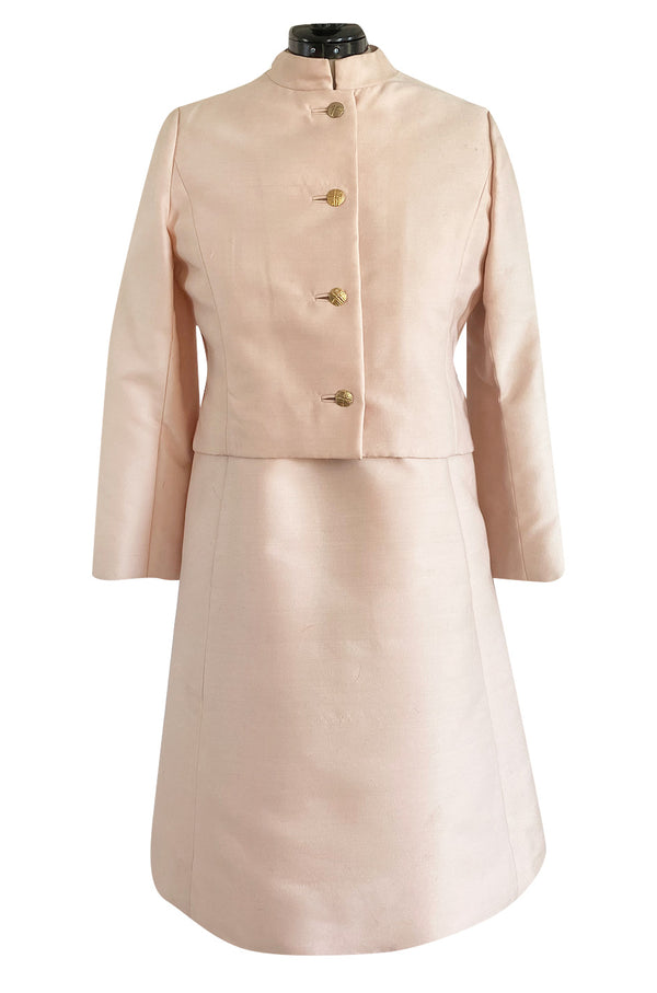 Late 1960s Malcolm Starr Butterfly Embroidered Collar Pale Pink Silk Shift Dress & Jacket Set