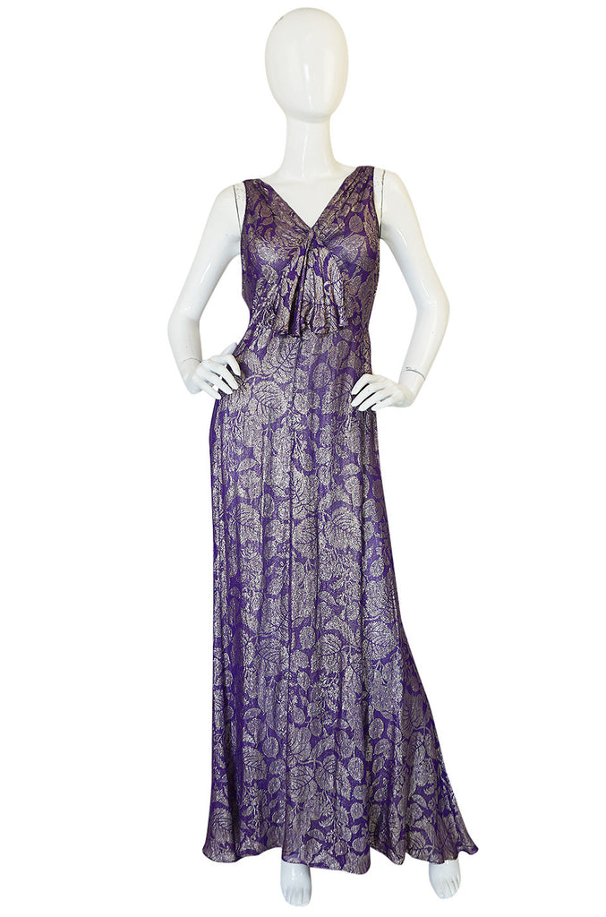Rare & Extraordinary 1920s Purple & Gold Metallic Lame Gown