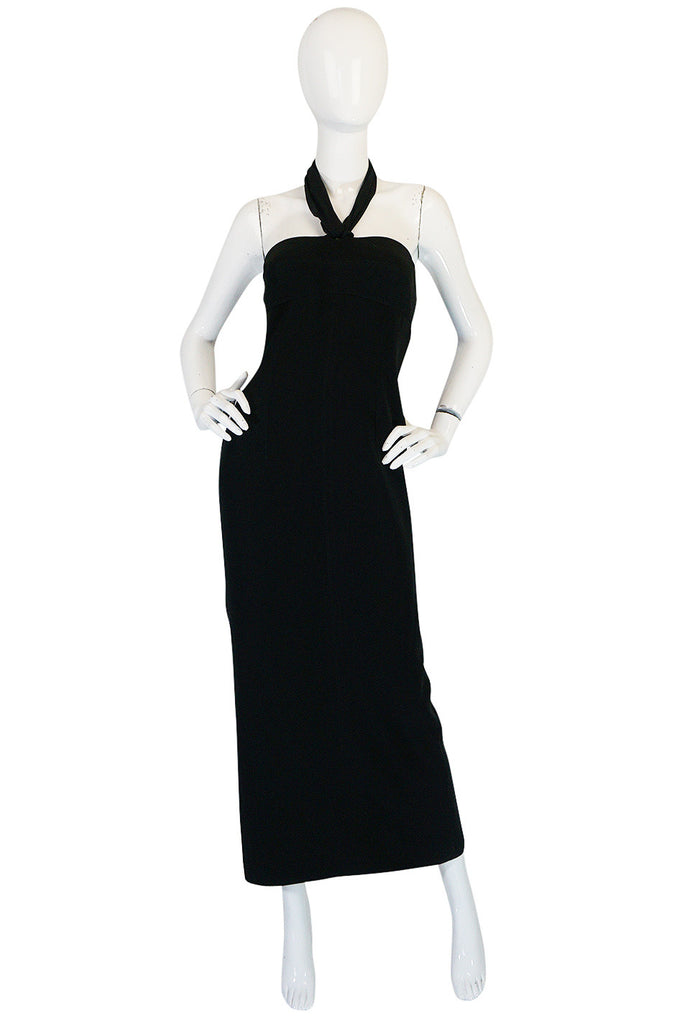 1980s Claude Montana Body Hugging Black Jersey Dress