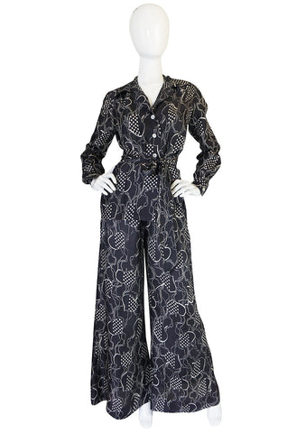 1970s Holly's Harp Print Flared Black Pantsuit