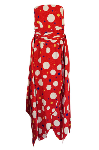 Documented 1983 Valentino Dotted Red Silk Strapless Dress