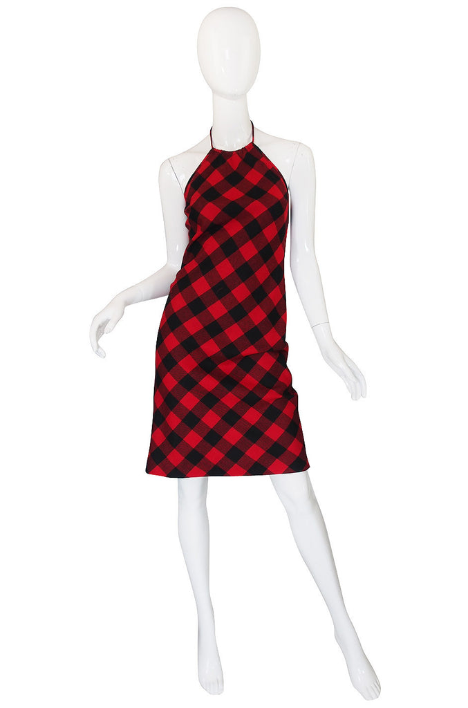 1990s Ralph Lauren Plaid Halter Dress