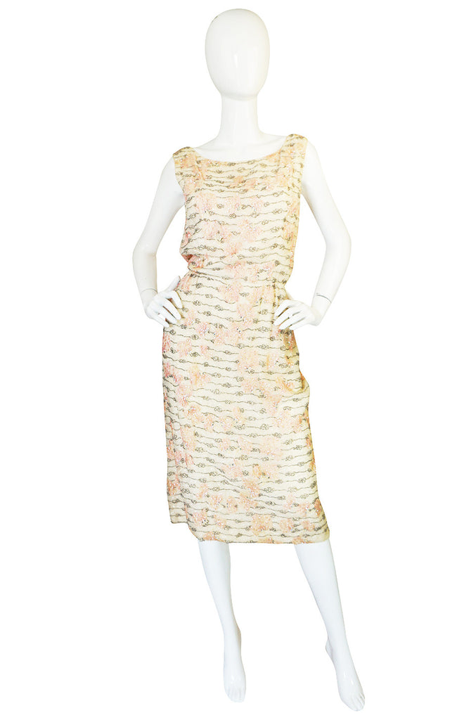 1950s Hand Beaded & Embroidered Branell Silk Dress