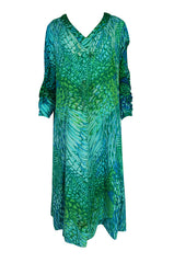 1972 La Mendola Silk Jersey 'Francolino' Print in Green Dress