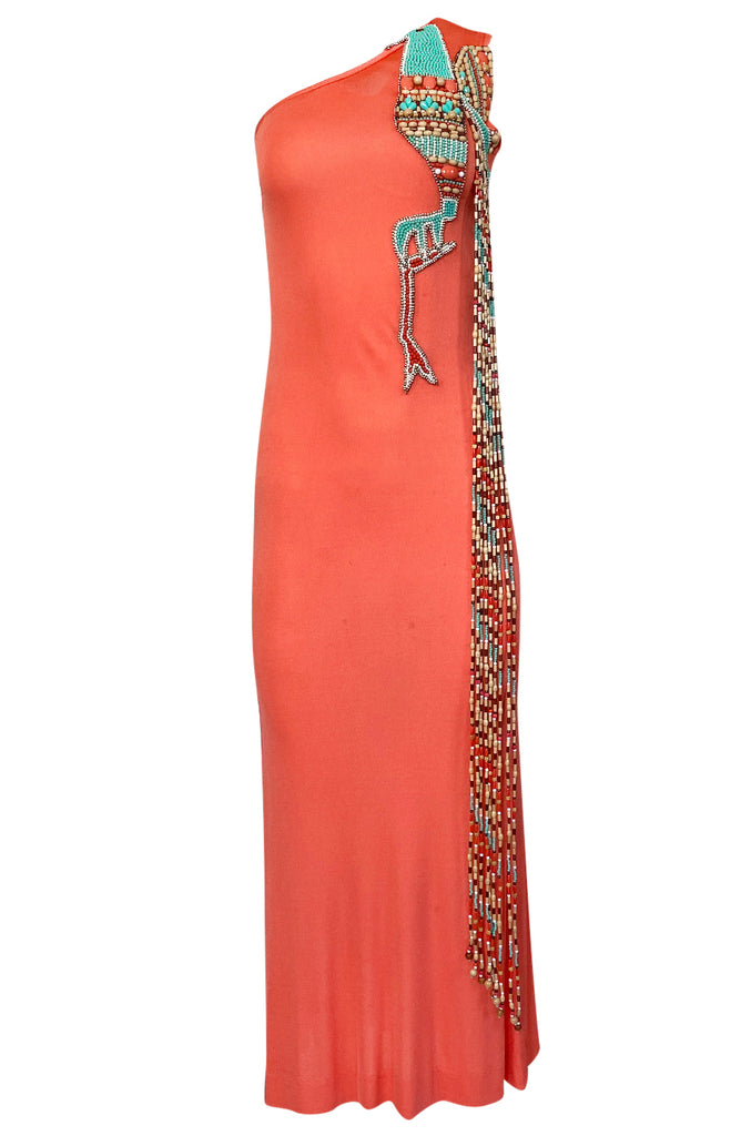 Early 1970s Bob Mackie Ray Aghayan One Shoulder Beaded Jersey Dress