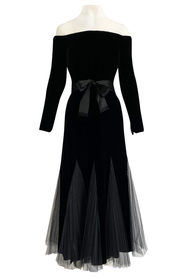 Exquisite Fall 2000 Yves Saint Laurent Haute Couture Velvet Dress w Net Inset Panels