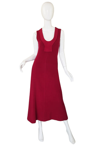 1960s Maggy Reeves Red Jersey Dress