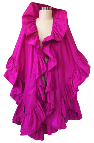 1970s Christian Dior Silk Pink Fuschia Ruffled Evening Cape or Shawl