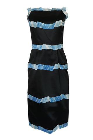 1950s Pauline Trigere Blue Ribbon Printed Black Silk Dress