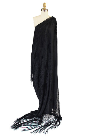 1920s Black on Black Silk Embroidered Piano Shawl