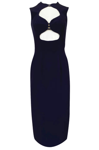 1990s Sophie Sitbon Minimalist Deep Blue Front Cut Out Bralette Dress