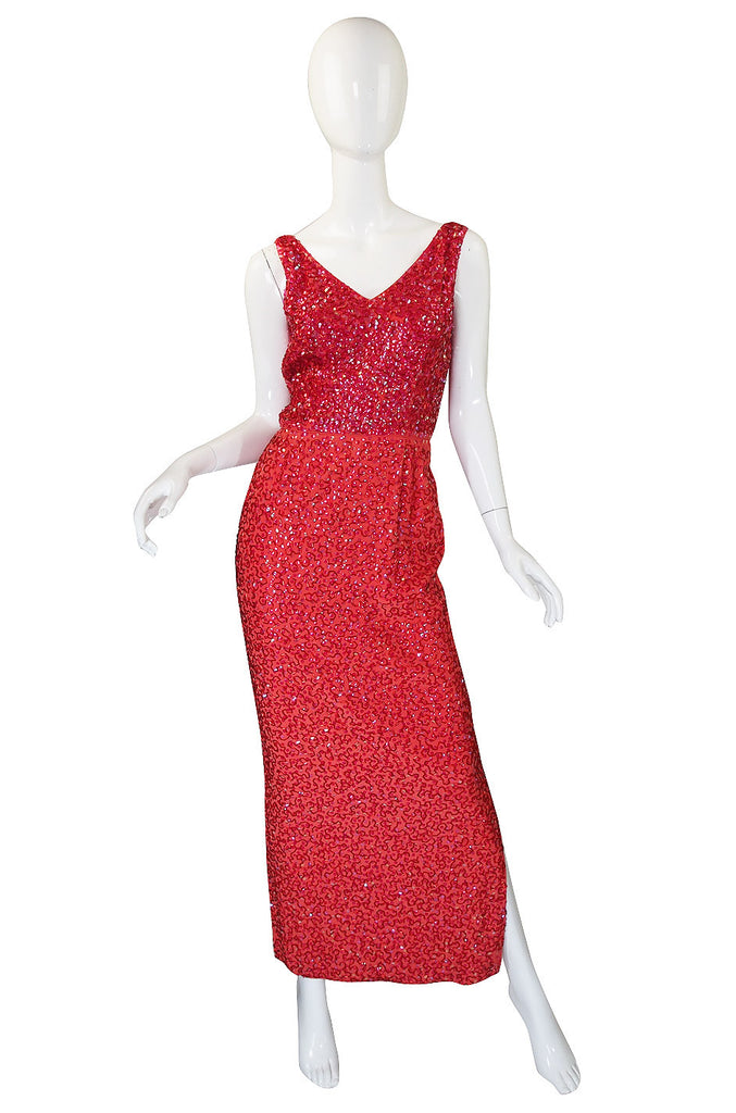 1950s Bombshell Red Sequin & Bead Gown