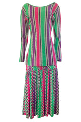 1980s Missoni Cotton Linen Green Purple & Pink Striped Skirt Tunic Set