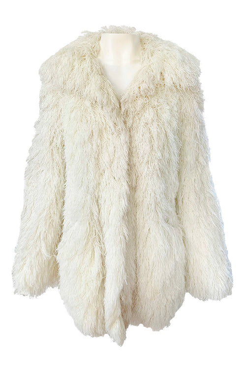 1970s Crissa Cotique France Light Ivory Faux Fur Alternative String Coat Jacket
