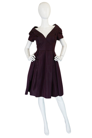 Recent Prada Deep Purple Silk Taffeta Full Skirted Dress