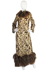 1960s Feather & Metallic Silk & Velvet Bill Blass Dress