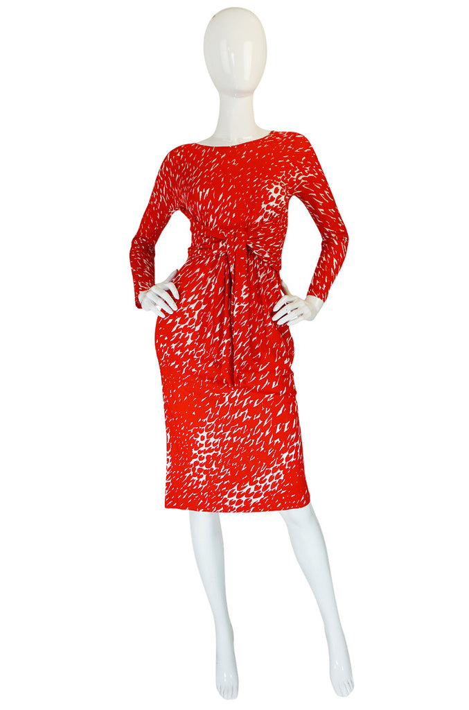 c1975 Red & White Print Jersey Front Wrap Halston Dress