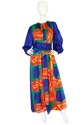 1970s Beautiful Tie Dye Silk Chiffon Caftan Dress