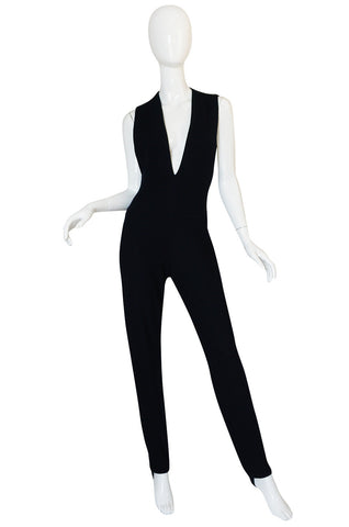 1980s Donna Karan Plunging Stretch Stirrup Pant Jumpsuit