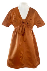 Spring 2007 Prada Burnished Gold Silk Satin Front Knot Plunging Empire Mini Dress