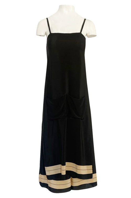 1970s Sonia Rykiel Wide Legged Cropped Pant & Long Tunic Evening Set w Draped Pockets