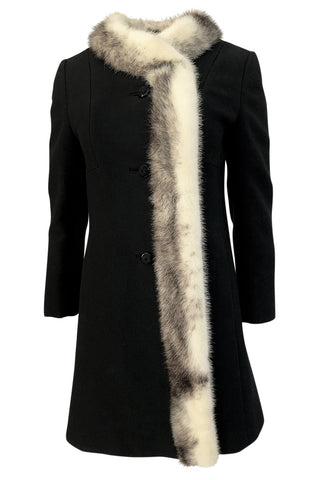 1960s Unlabeled Mod Cut Black Wool Jersey & Fur Trim Coat