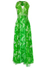 1960s Victoria Royale Green & White Print Silk Chiffon Beaded Dress