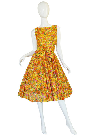 1950s Suzy Perette Citrus Floral Cotton Voile Pleated Skirt Dress
