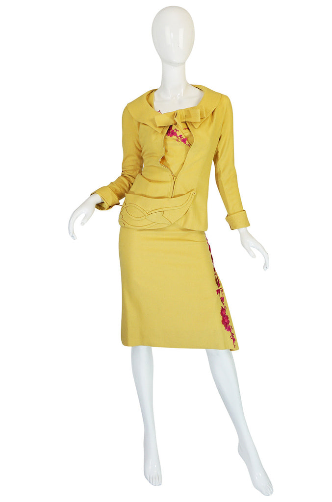 Bombshell 1950s Yellow Dress & Jacket w Pink Accents