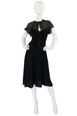 1970s Ossie Clark for Radley Black Crepe & Chiffon Dress