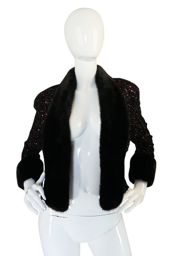 1980s Glossy Mink Trim Sequin John Anthony Silk Jacket