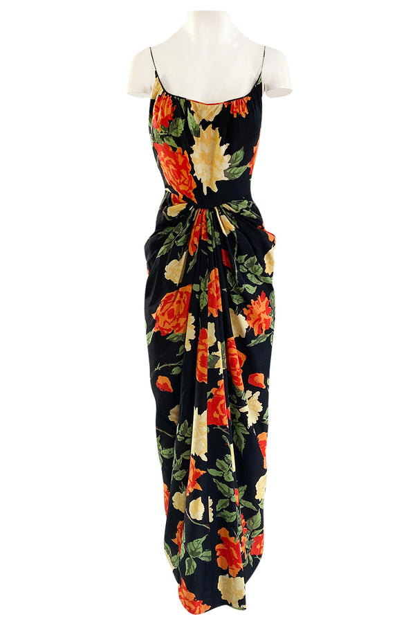 Brilliant 1957 James Galanos Large Floral Print Front Gathered Silk Evening Dress