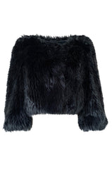 Recent Prada Deep Blue Grey Faux Fur Cropped 'Chubby' Jacket