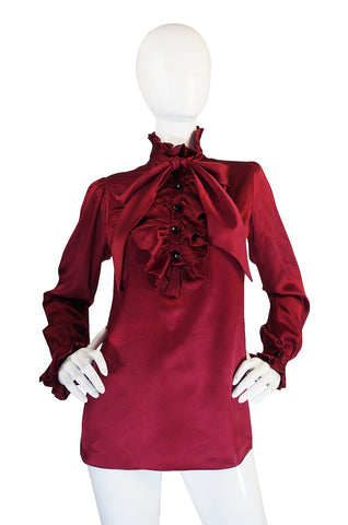 c1979 Yves Saint Laurent Haute Couture Garnet Silk Top