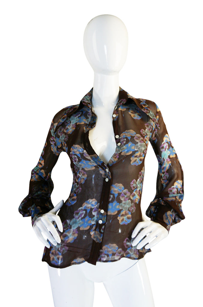 1970s Rare Jeff Banks Extreme Pointed Collar Floral Shirt