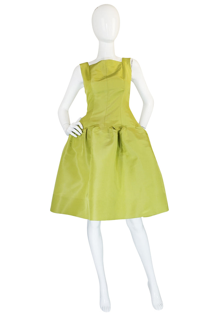 "Iconic S/S 2004 Oscar De La Renta Lime Green ""Carrie"" Dress"