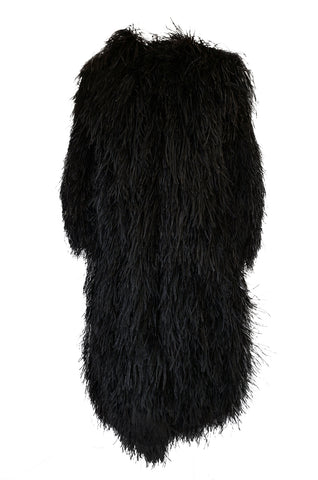 Rare c1970 Yves Saint Laurent Black Ostrich Feather Coat